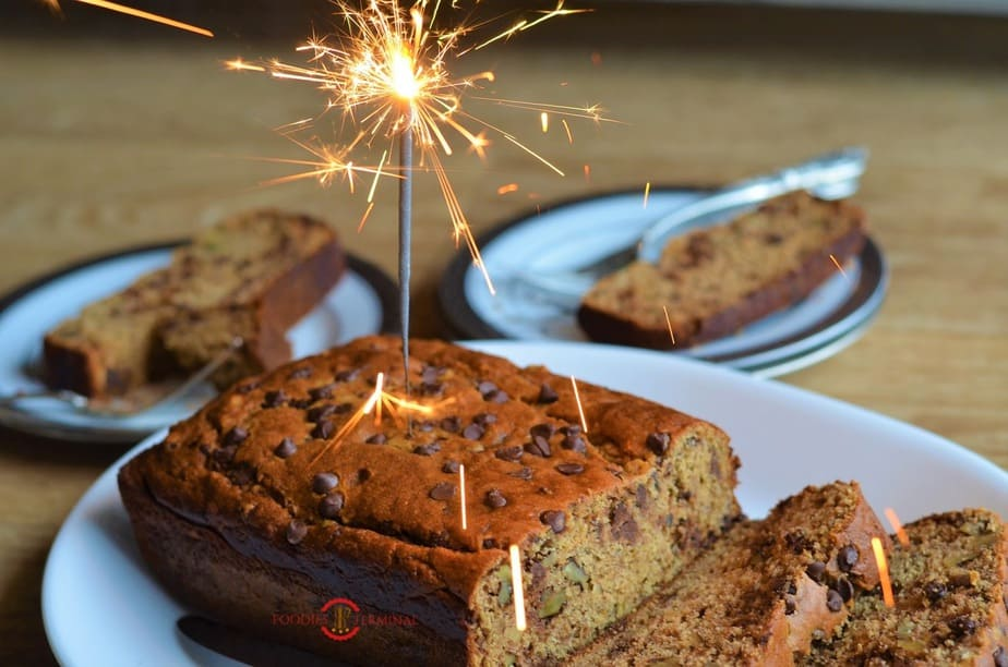 Banana bread with a fire stick
