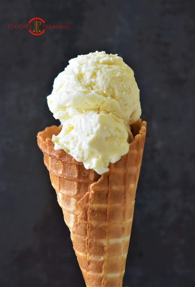 No Churn Only 3 Ingredients Ice-Cream in a cone