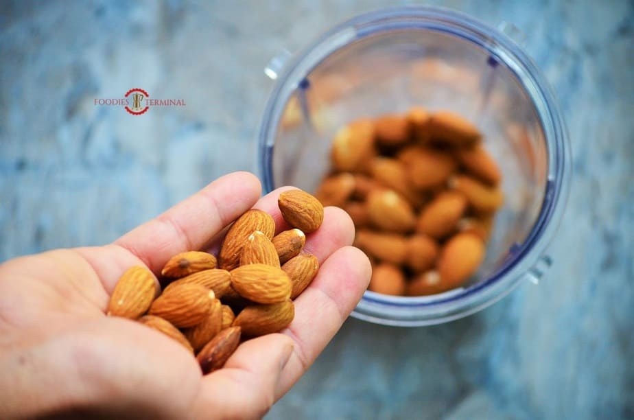 Almonds ready to be ground in mixer jar