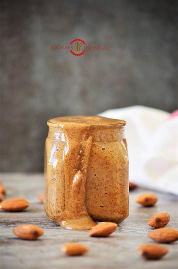 Almond butter in a jar