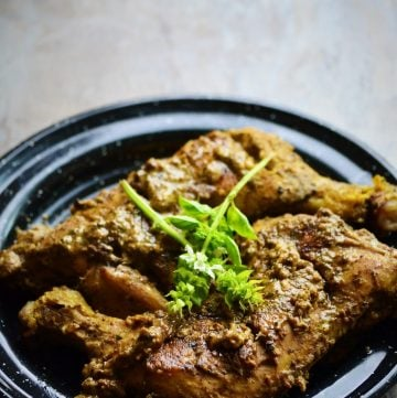 Afghani chicken served