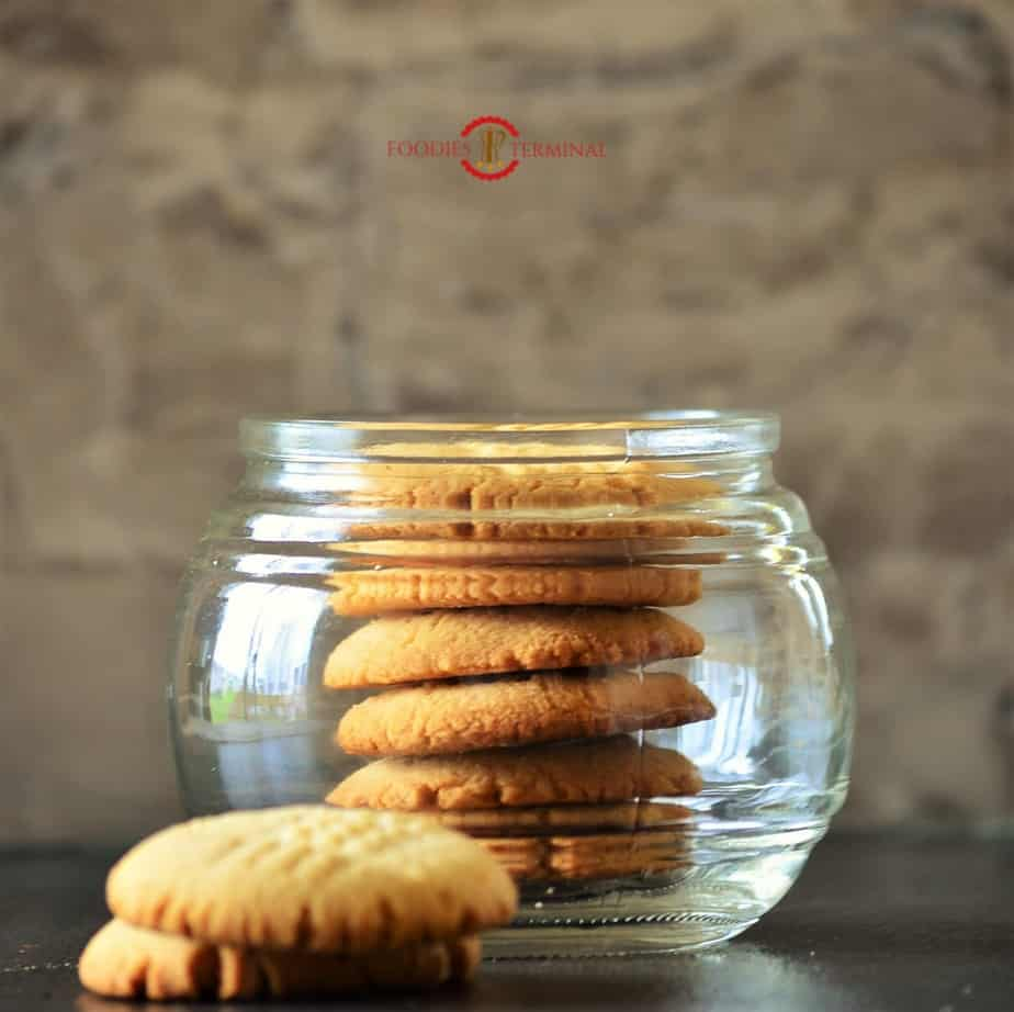 Shortbread cookies stored in a glass jar