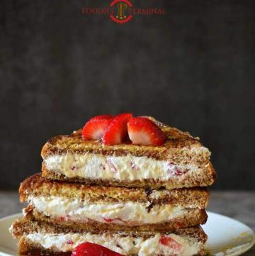 Creamy Stuffed French Toast served in a plate