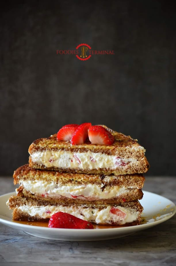 IHOP *CopyCat* French Toast with Cream Cheese & Strawberry Filling served on a plate.