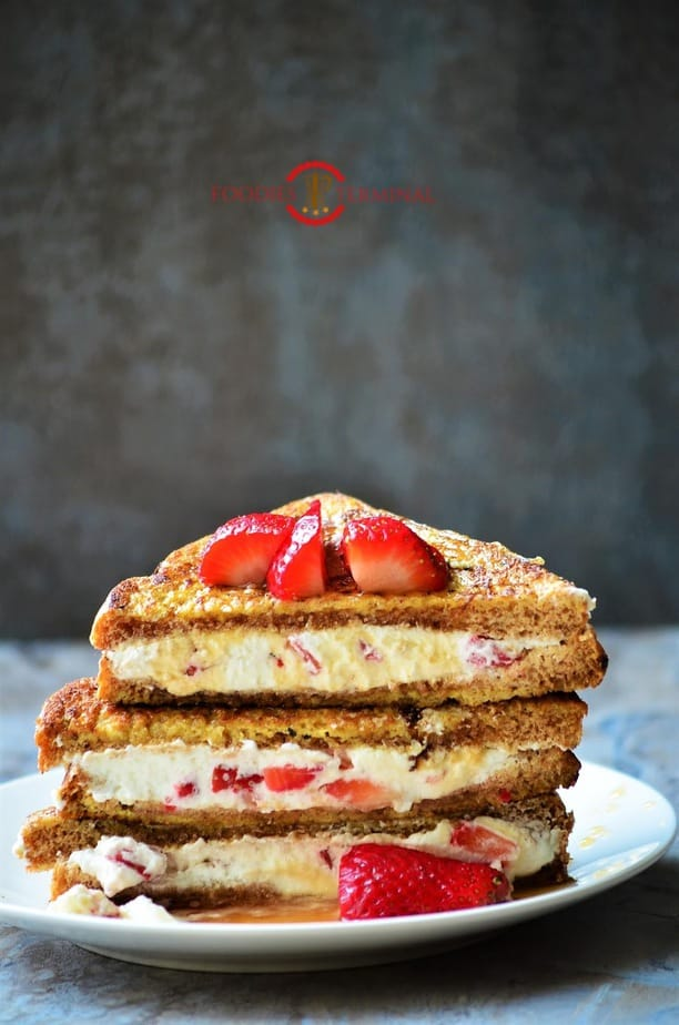 French Toast with Cream Cheese & Strawberry Filling served on plate