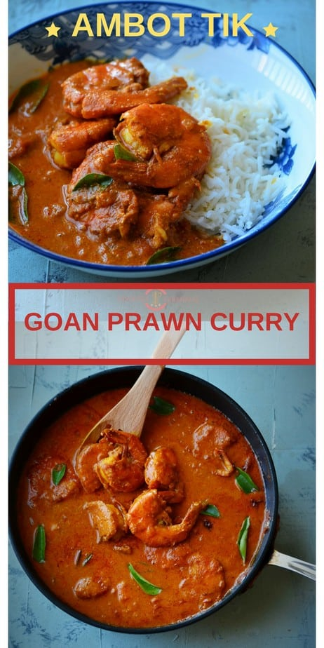 Goan Prawn Curry in the pan and served with rice.