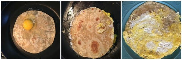Egg cracked over the cooked paratha, then flipped with egg spread over the pan and then flipped back.