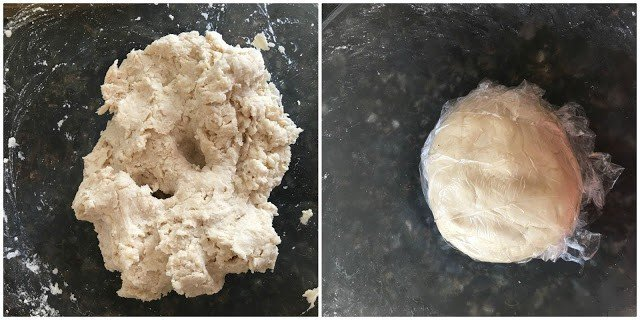 Two process image shots placed together. Left hand side is image of kneaded flour in bowl. Right hand side image is of the dough covered in plastic wrap.