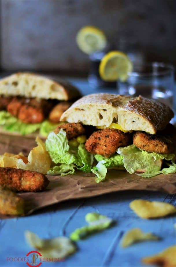 Fully prepared fish finger sandwich.