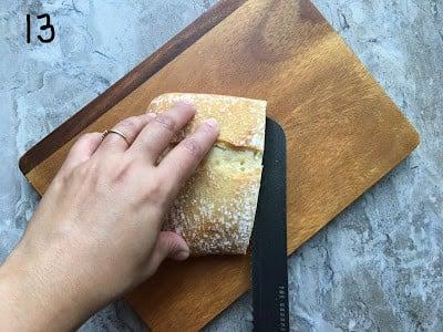 Cut the bread in horizontal halves.