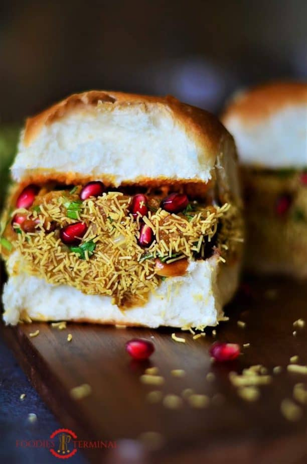 One finished dabeli ready to eat.