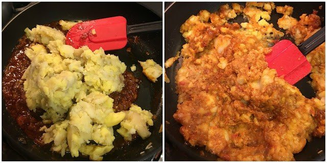 Add boiled potatoes to onion, tomato and tamarind sauce sauté.