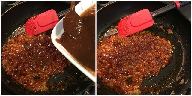 Adding tamarind chutney to the onion and tomato sauce.