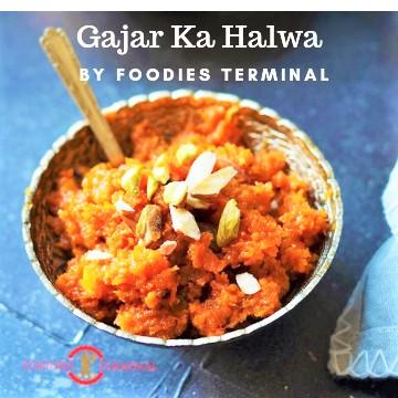 Instant Pot Gajar Ka Halwa served in a small bowl