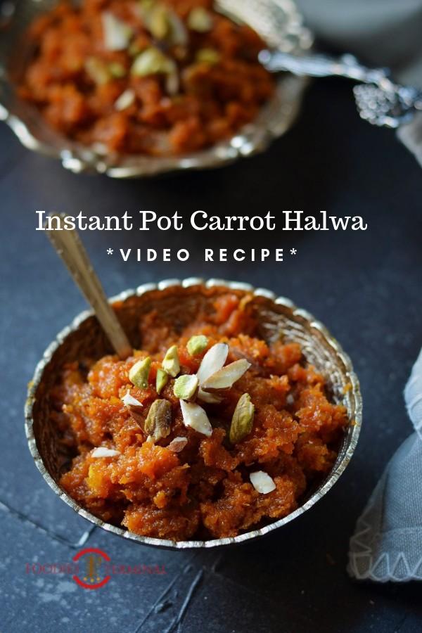Instant Pot Gajar Ka Halwa served, Carrot Halwa garnished with chopped nuts