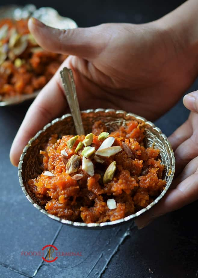 Instant Pot Gajar Ka Halwa served hot in a small silver bowl