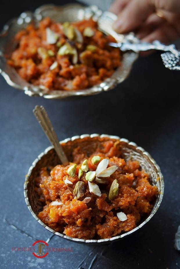 Instant Pot Gajar Ka Halwa served in a small silver bowl