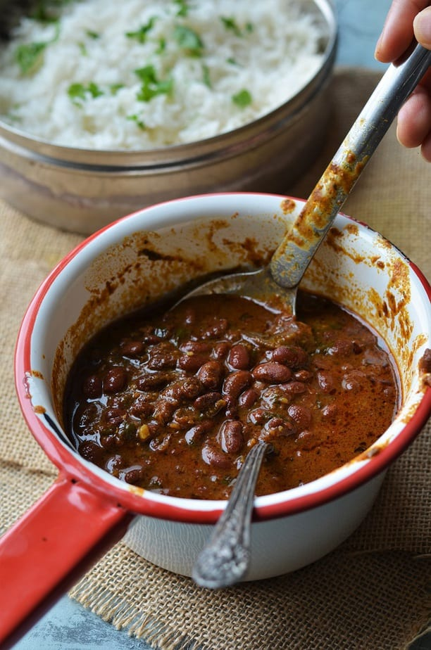 Instant Pot Rajma chawal recipe served in a red handled saucepan