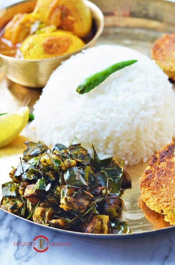 Neem Begun served on a Brass plate