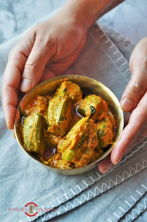 Potol Korma bengali style served in a golden bowl