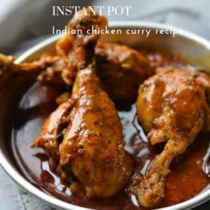 Instant Pot Indian Chicken Curry Recipe served in an aluminum plate