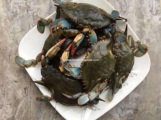Fresh small crabs on a white plate