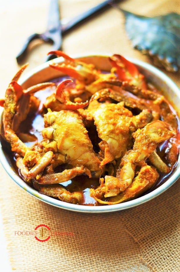 Bengali style crab curry served on a plate