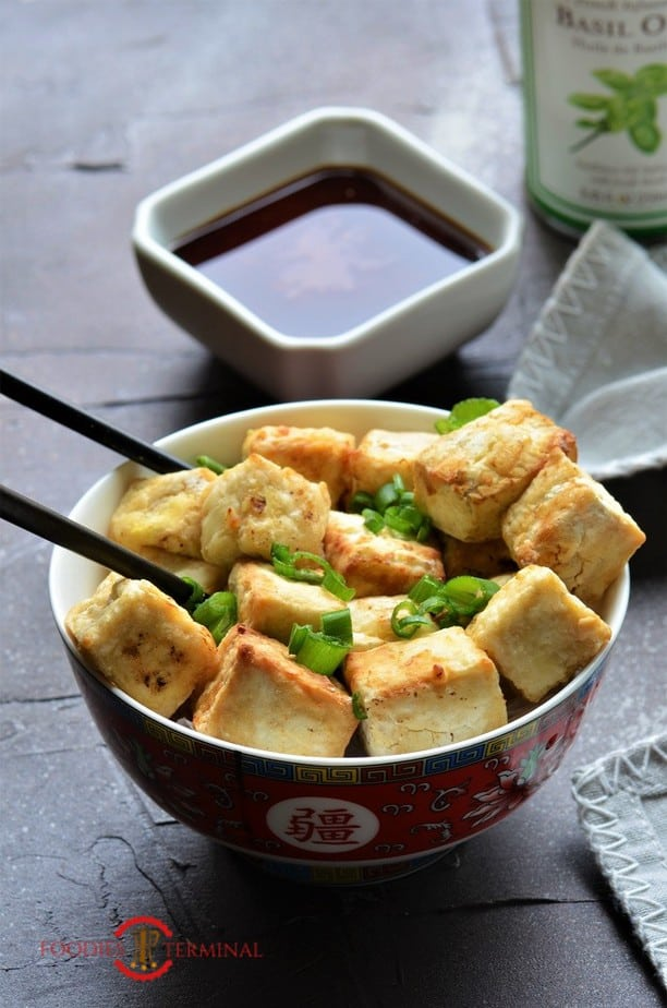 Crispy Air Fried Tofu Served in a bowl