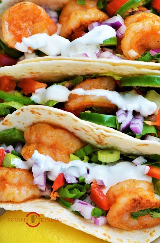 Delicious Shrimp Tacos stacked together