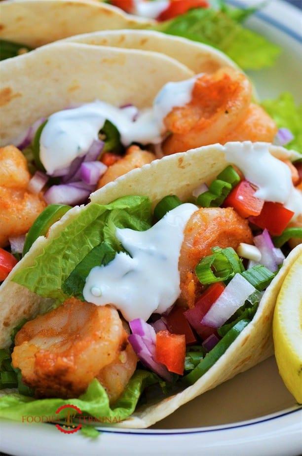 Shrimp taco with sour cream dill sauce