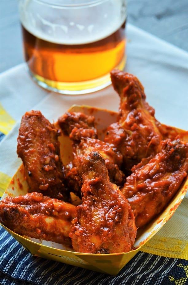 Korean Gochujang Chicken Wings Air Fryer served with beer