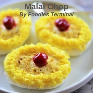 Malai Chop decorate & served on a plate