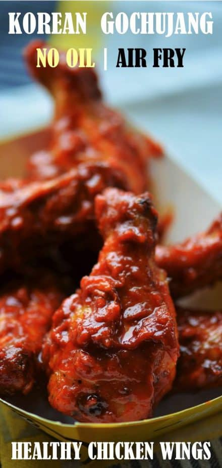 Korean Gochujang Chicken Wings Air Fryer served with beer - Pin Image