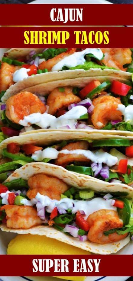 Shrimp tacos served with lemon wedge