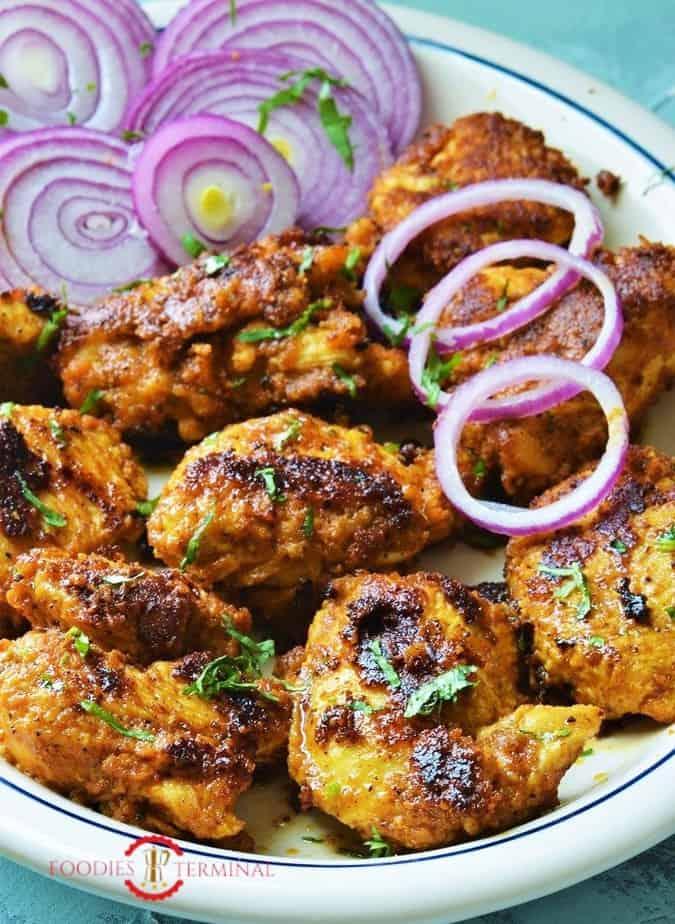 Achari Chicken Tikka recipe served on plate