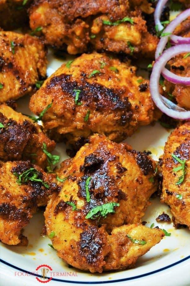 Achari Chicken Tikka Kebab served