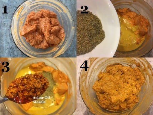 The final chicken marination stepwise pictures