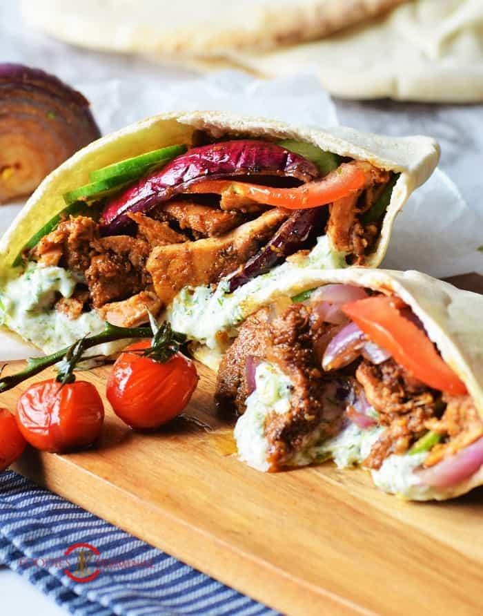 Authentic Greek chicken gyros recipe in pita pockets