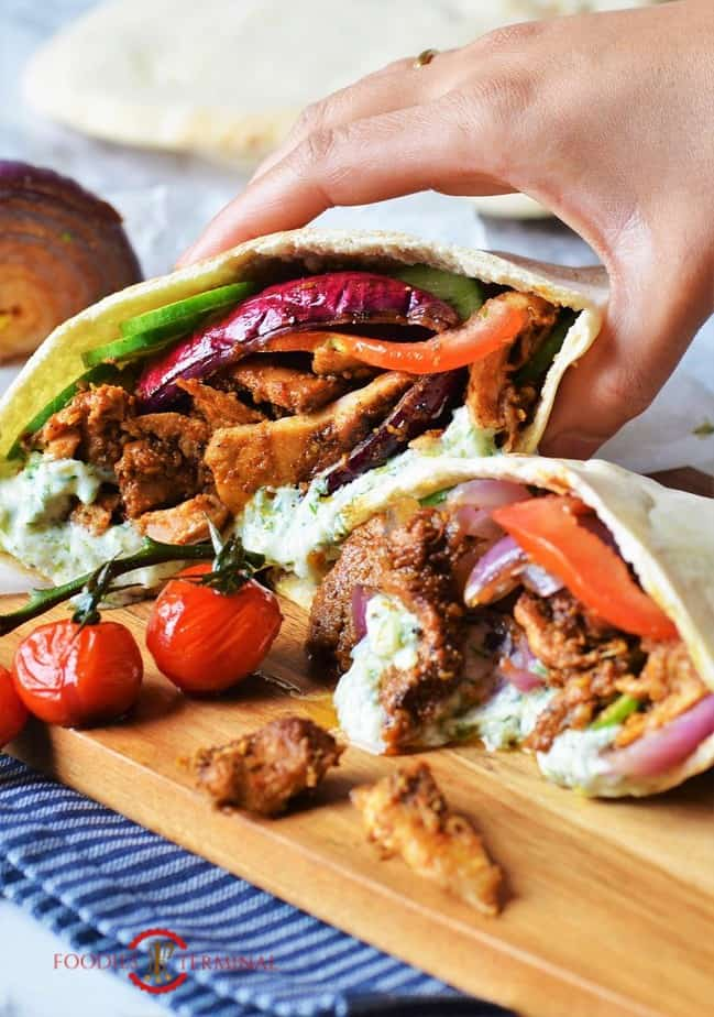 Authentic Greek Chicken gyros recipe served in pita