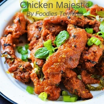 Chicken Majestic garnished with mint