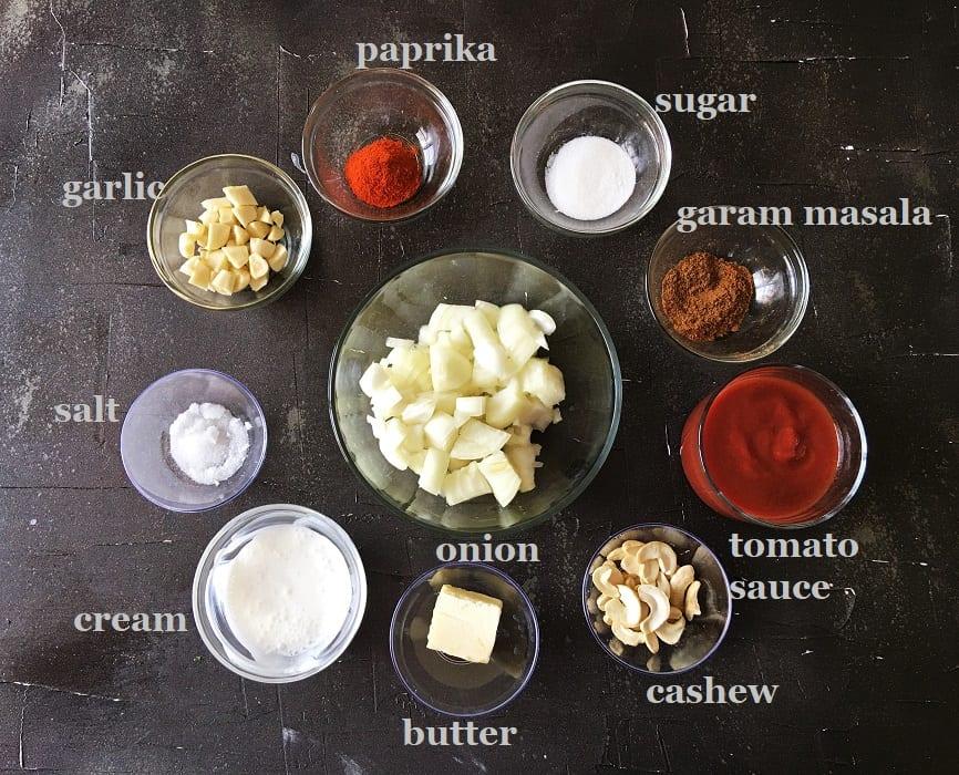 Ingredients for fish tikka masala recipe