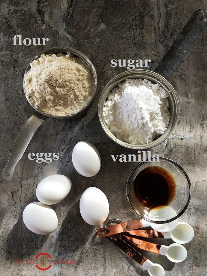 Ingredients for the Swiss Roll recipe