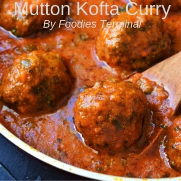 Mutton Kofta Curry in a red curry sauce