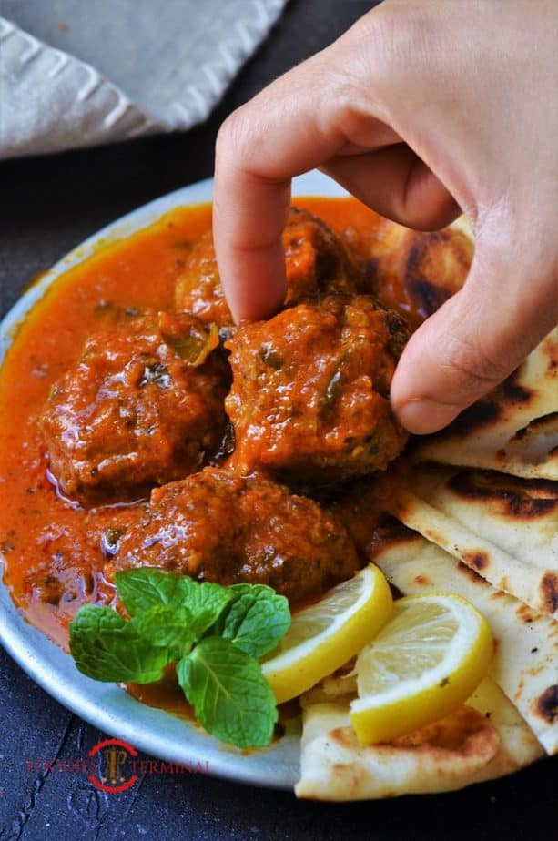 Mutton Keema balls curry served with Naan