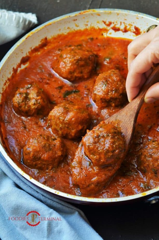 Mutton kofta curry made with air fried lamb meatballs
