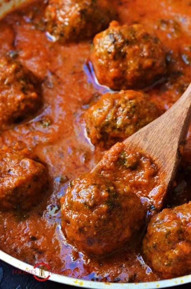 Mutton Kofta Curry in a skillet