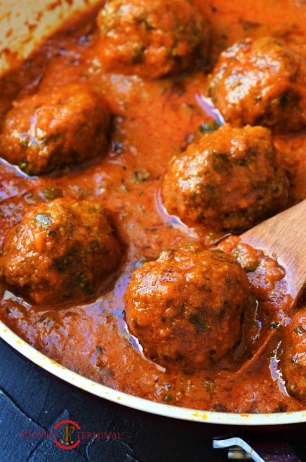 Mutton Keema Kofta curry in a red sauce