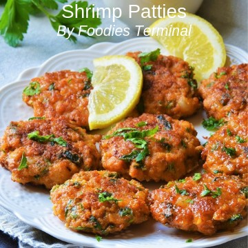 Shrimp Patties served on a white plate