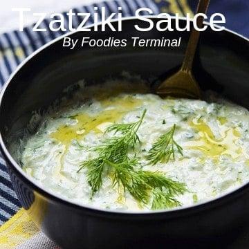 Best Tzatziki Sauce garnished with dill