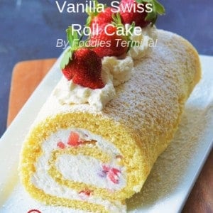 Vanilla Swiss Roll cake recipe served